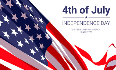 4th of July -  independence day. United States of America since 1776. Vector banner design template with american flag and text on white background.