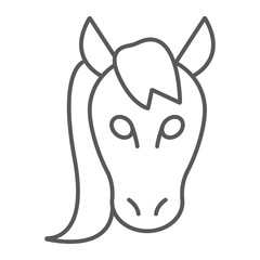 Horse thin line icon, animal and zoo, mustang sign vector graphics, a linear pattern on a white background, eps 10.