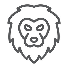 Lion line icon, animal and zoo, cat sign vector graphics, a linear pattern on a white background, eps 10.