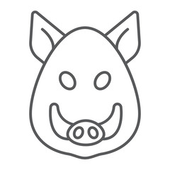 Boar thin line icon, animal and zoo, pet sign vector graphics, a linear pattern on a white background, eps 10.