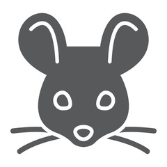 Mouse glyph icon, animal and zoo, rat sign vector graphics, a solid pattern on a white background, eps 10.