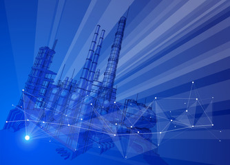 modern chemical manufacturing plant on a blue technological background with a stylized digital wave - the concept of modern technology, the new industrial revolution & information technology / vector