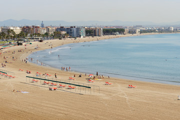 The beach on Costa Dorada shore, Salou, Spain