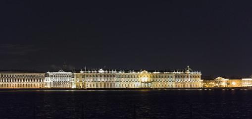 Hermitage museum at night in Saint Petersburg, Russia