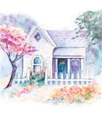 Watercolor house in the garden