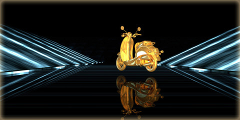 3d rendering of a golden object inside a futuristic road
