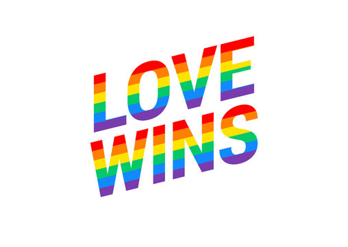 Love wins - Pride month rainbow flag typography with pride rainbow - vector illustration