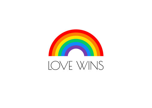 Pride love wins text and rainbow flag vector illustration
