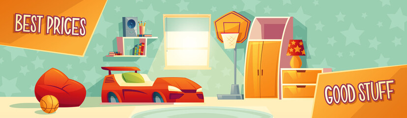 Kid room furniture advertisement illustration of home interior collection for store, banner or poster template. Boy bedroom best price for car bed, chair and drawer on cartoon interior background