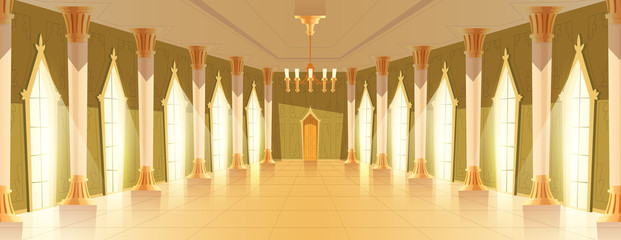 Ballroom or royal hall vector illustration of entrance door view. Cartoon palace room or chamber with candle chandelier and golden or marble pillar columns and windows with light reflection on floor