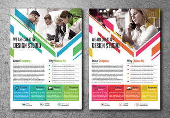 Flyer Layout with Multicolored Accent Elements