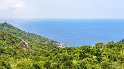 Beautiful nature landscape blue sea at Aow leuk bay under the summer sky from high scenic view point on Koh Tao island is a famous tourist attraction in Surat Thani, Thailand, 16:9 widescreen