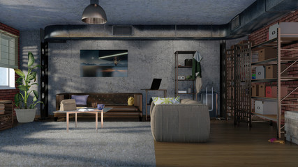 Modern minimalist design living room interior in loft apartment with sofas, brickwork, concrete wall, metal ventilation stack and shelvings. 3D illustration.