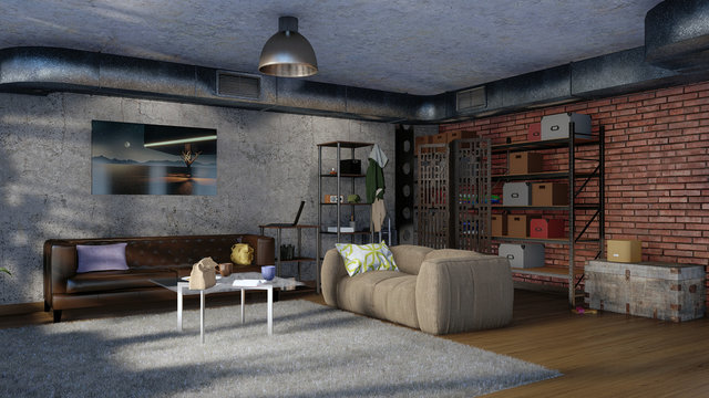 Simple urban living room interior with sofas, brick wall, concrete wall and metal ventilation stack in modern loft design style at daytime. 3D illustration.