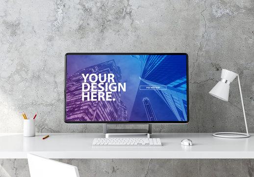 Desktop Computer on Desk Mockup