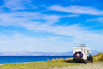 Camper car on beach. Travel