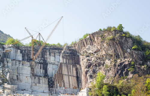 Mining industry, in a limestone quarry on the mountain