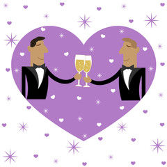 a pair of men in love drinking champagne