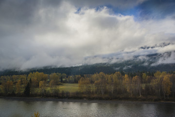 Cloudy day by a lake