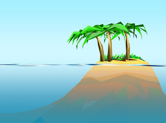 geometrical summertime graphic with palm trees and deep blue ocean