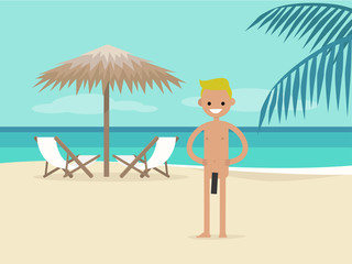 Nudist beach. Young character on vacation.  Two chaise lounges under the palm tree umbrella. Background. Paradise. Flat editable vector illustration, clip art