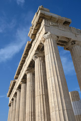 Columns of Parthenon temple in Acropolis, Athens.