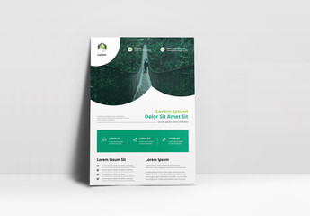 Business Flyer Layout with Rounded Photo Placeholders