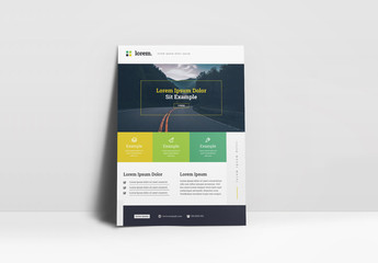 Corporate Flyer Layout with Green and Yellow Elements