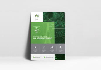 Green and White Flyer Layout with Gray Accents