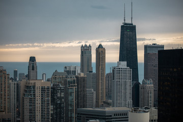 Chicago Skyline And Lake Michigan During A Beautiful Morning Sunrise
