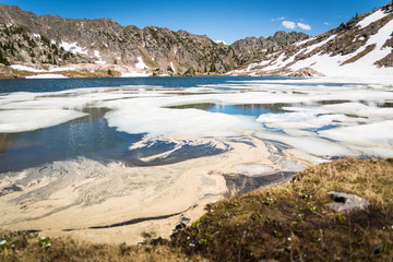 Landscape view of ice melting in Booth Lake near Vail, Colorado.