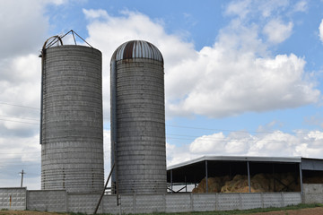Silo tower on a cattle-breeding farm. The state farm supplies milk and meat to the entire Volgograd region and the South of Russia. State farm Volga-Don. Preparation of feed for cows and horses.