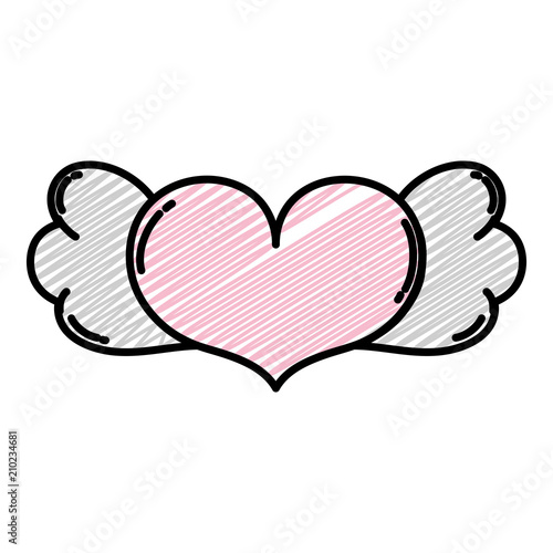 Doodle Heart Love Symbol With Wings Style Stock Image And Royalty