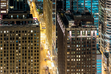 Chicago Buildings And City Streets From Above At Night