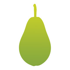 Green pear with a gradient on a white background