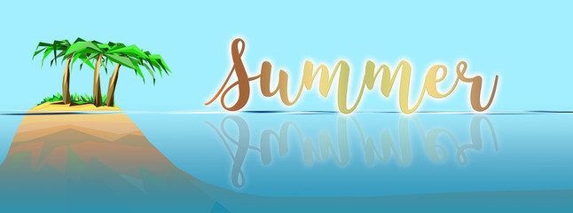 Summer vacation on beautiful island graphic
