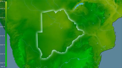 Botswana, annual temperature - light glow