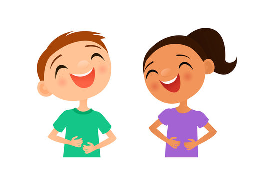Vector illustration of two children laughing