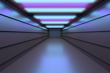 Futuristic space - empty tunnel corridor with reflective floors. Image in blue purple colors. 3D illustration.