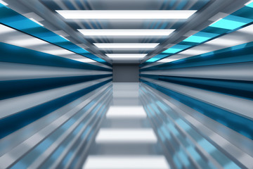 Futuristic space - tunnel corridor decorated with shiny panels and reflective floor. 3D illustration.
