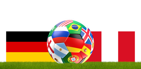 Germany Peru soccer football ball 3D Illustration