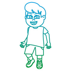 degraded line boy child with hairstyle and sport clothes