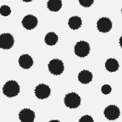 Polka dots with sharp edged strokes seamless vector pattern