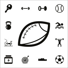 Rugby ball icon. Detailed set of Sport icons. Premium quality graphic design sign. One of the collection icons for websites, web design, mobile app