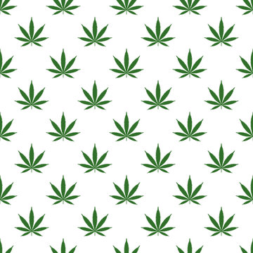 Seamless pattern with marijuana leaf. Cannabis background. Pattern can be used for fabric design, wallpaper, wrapping papers. Isolated vector illustration.
