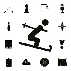 Skier icon. Detailed set of Sport icons. Premium quality graphic design sign. One of the collection icons for websites, web design, mobile app