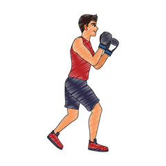 Fitness man practicing boxing