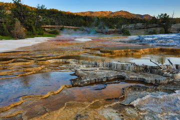 Mammoth Hot Springs is one of the most popular attractions in Yellowstone National Park in Wyoming.  A golden sunrise adds to the splendor.