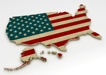 Map with the Flag of the United States of America on a white background - 3D Render