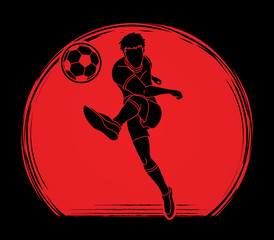 Soccer player shooting a ball action designed on sunlight background graphic vector